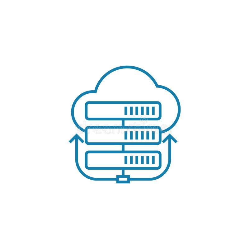 Conceito linear do ícone do servidor da nuvem Nuble-se a linha sinal do servidor do vetor, símbolo, ilustração ilustração do vetor