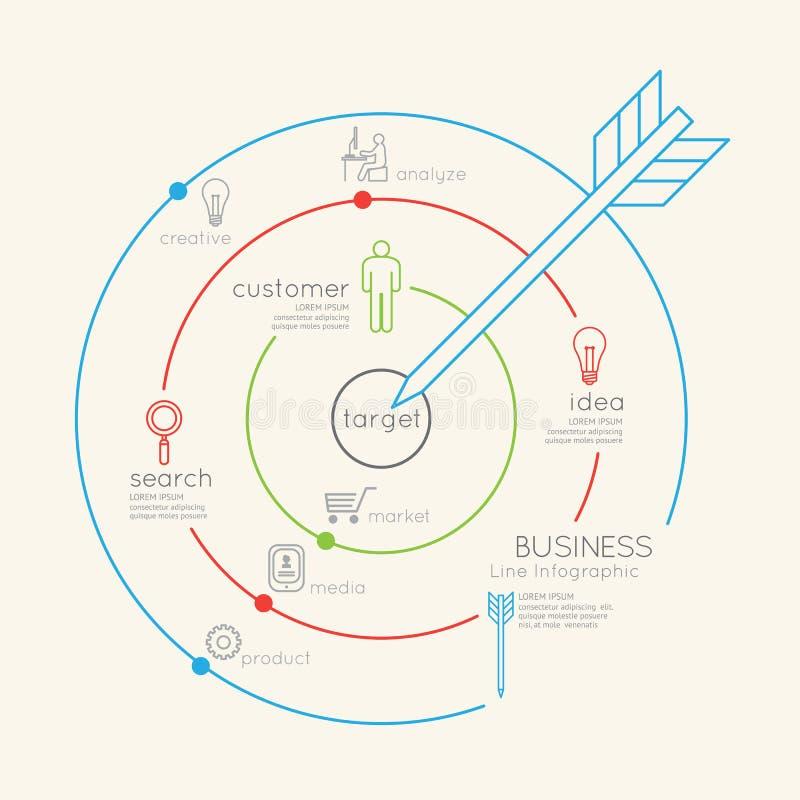 Conceito linear liso do esboço do alvo do negócio de Infographic Vetor ilustração royalty free