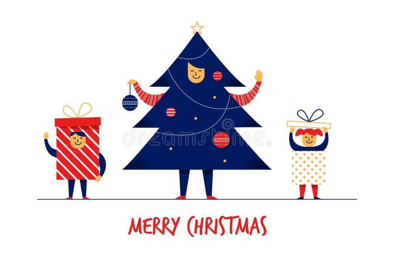 Conceito liso da bandeira do cartão do ano novo do Feliz Natal dos caráteres da família da menina do menino dos desenhos animados ilustração royalty free