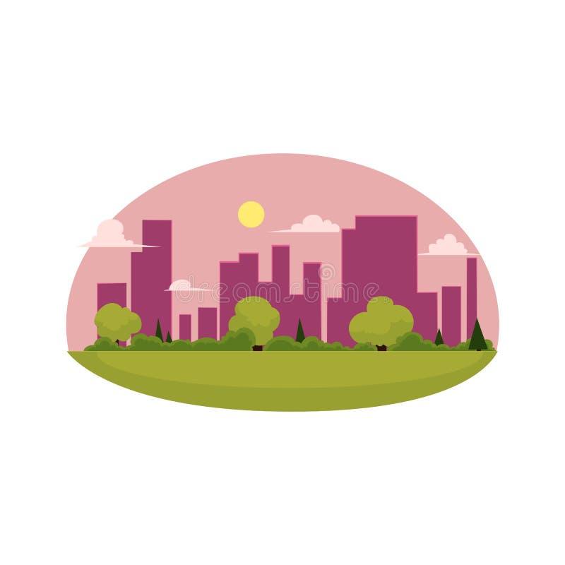 Conceito liso da cidade do verde dos desenhos animados do vetor isolado ilustração stock