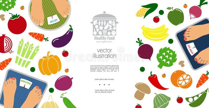 Conceito liso da dieta saudável ilustração stock