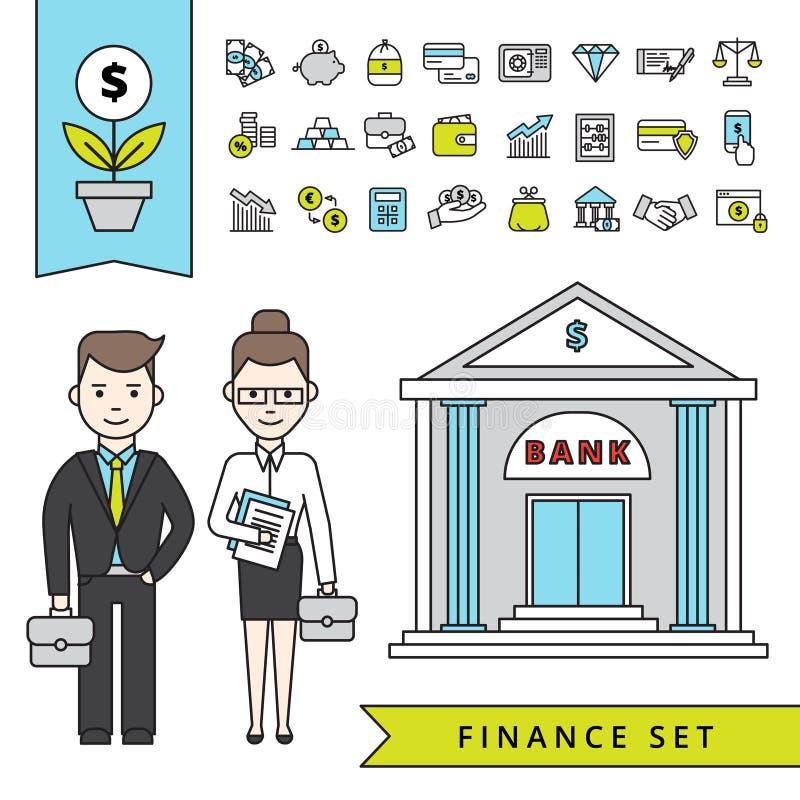 Conceito liso da finança com homem de negócios And Bank ilustração stock