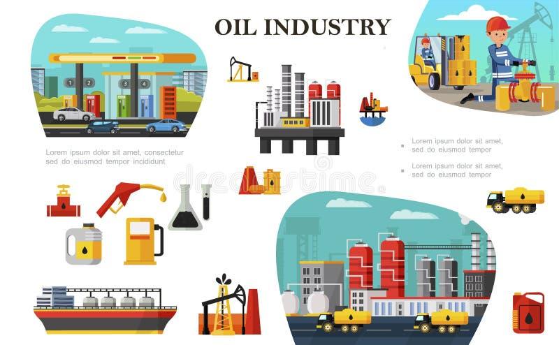 Conceito liso da ind?stria petroleira ilustração stock