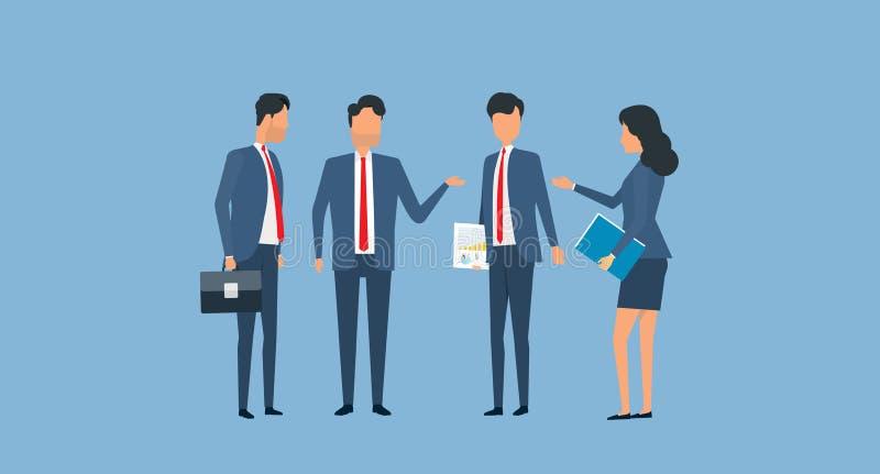 Conceito liso da reunião da equipe do negócio do grupo do vetor ilustração stock