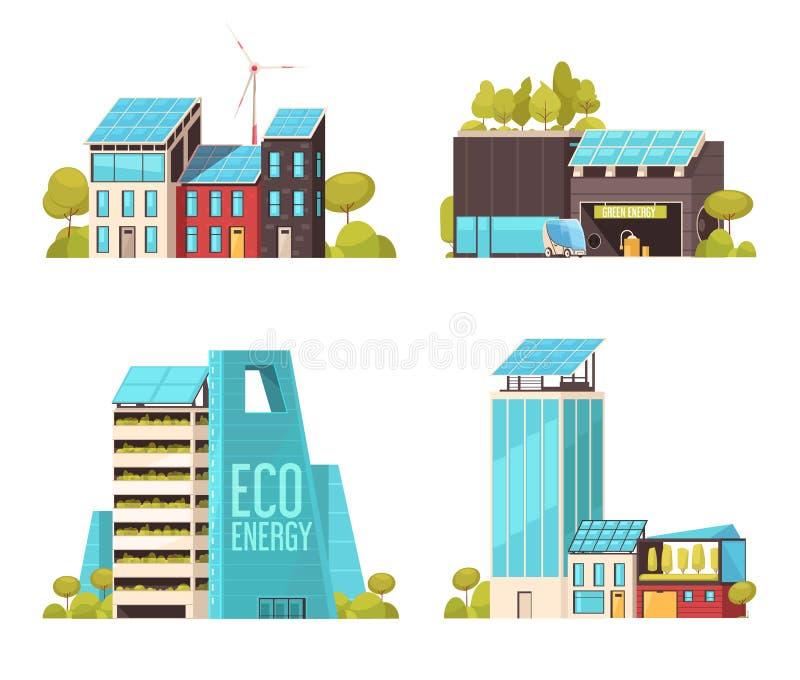 Conceito liso de Smart City ilustração do vetor