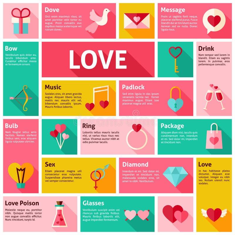 Conceito liso do amor de Infographic dos ícones do vetor do projeto ilustração stock