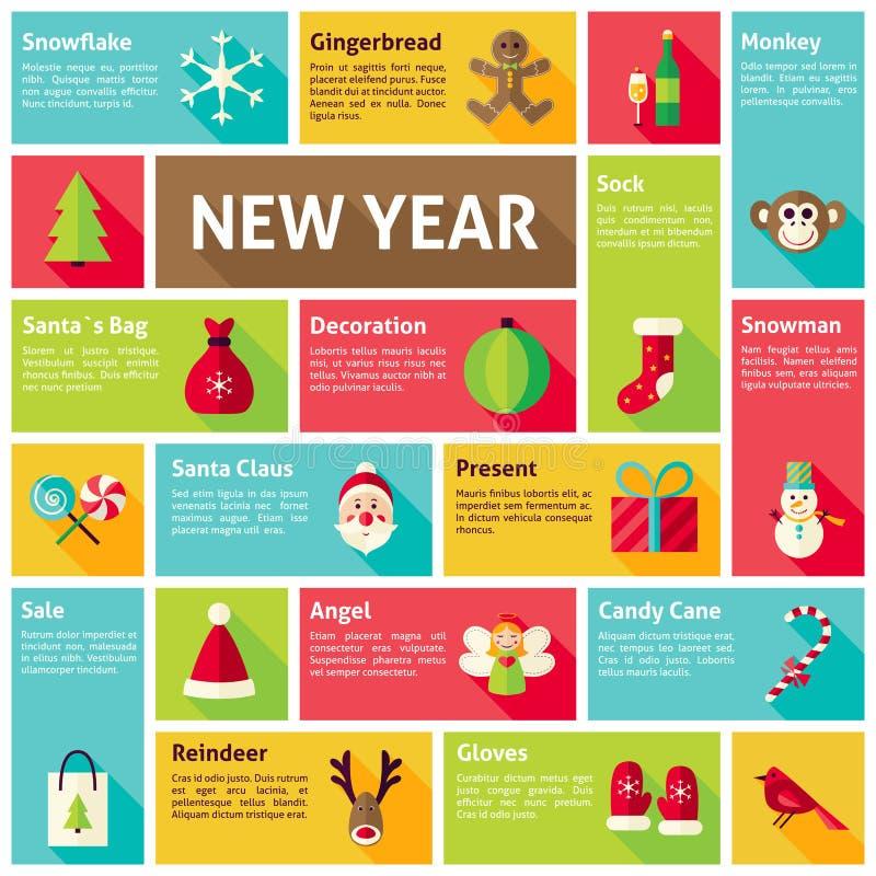 Conceito liso do ano novo feliz de Infographic dos ícones do vetor do projeto ilustração stock