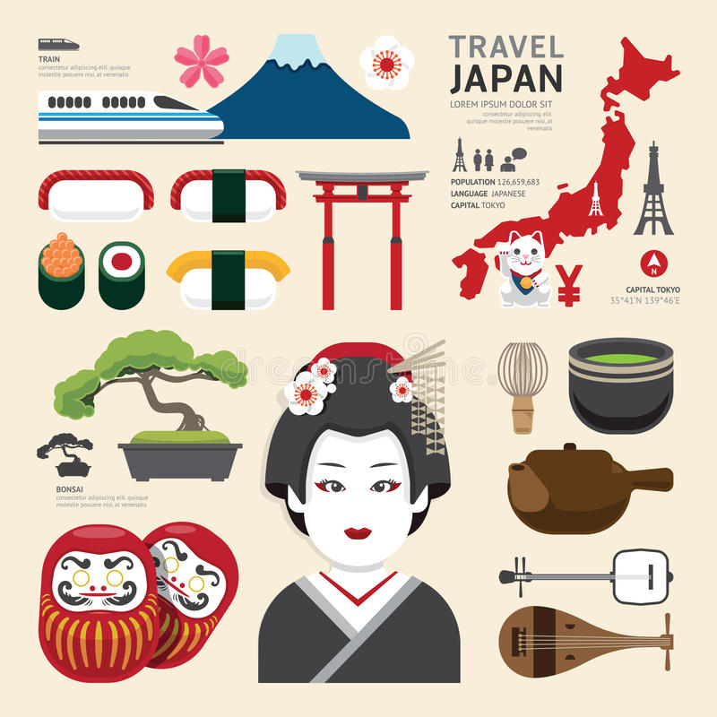 Conceito liso do curso do projeto dos ícones de Japão Vetor ilustração do vetor