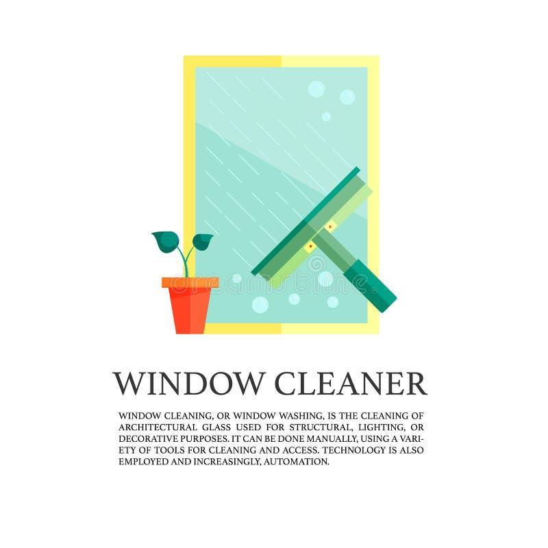 Conceito liso do líquido de limpeza de janelas ilustração royalty free