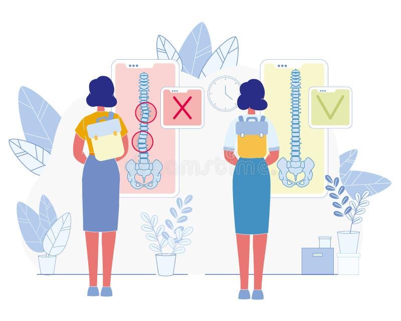Conceito liso do vetor da prevenção das doenças da espinha ilustração royalty free
