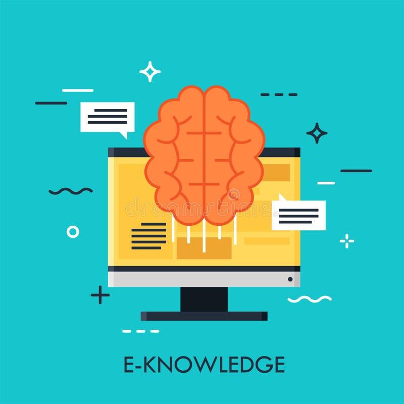 Conceito liso do vetor do E-conhecimento ilustração do vetor