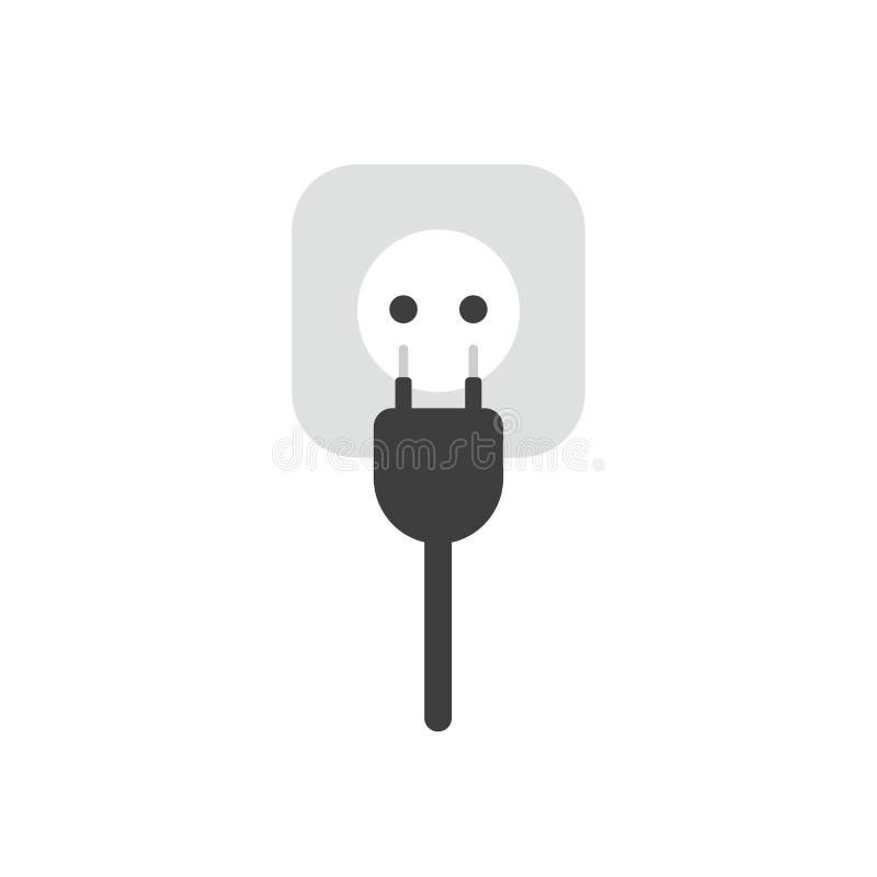 Conceito liso do vetor do projeto da tomada elétrica com cabo e para fora ilustração stock