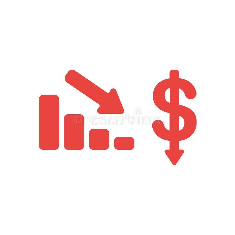Conceito liso do vetor do projeto do sym vermelho da carta e do dólar de barra das vendas ilustração do vetor