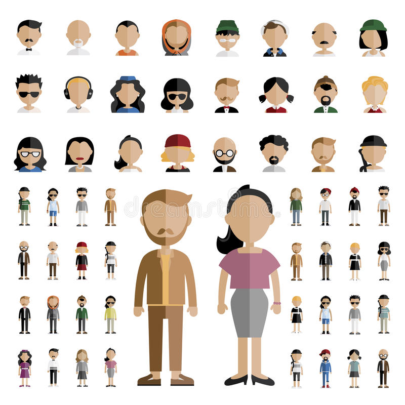 Conceito liso dos ícones do projeto dos povos da comunidade da diversidade ilustração stock