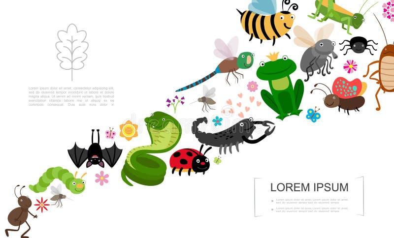 Conceito liso dos insetos e dos animais ilustração stock