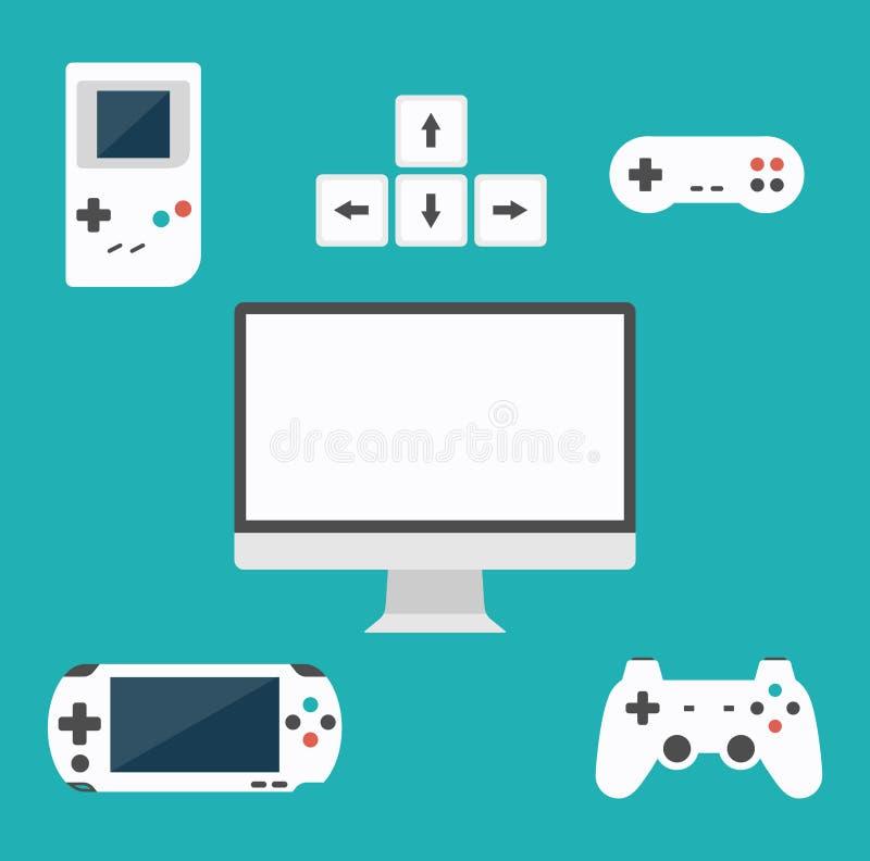 Conceito liso dos jogos de computador do projeto Desenvolvimento do jogo Vários dispositivos Elementos do projeto ilustração do vetor