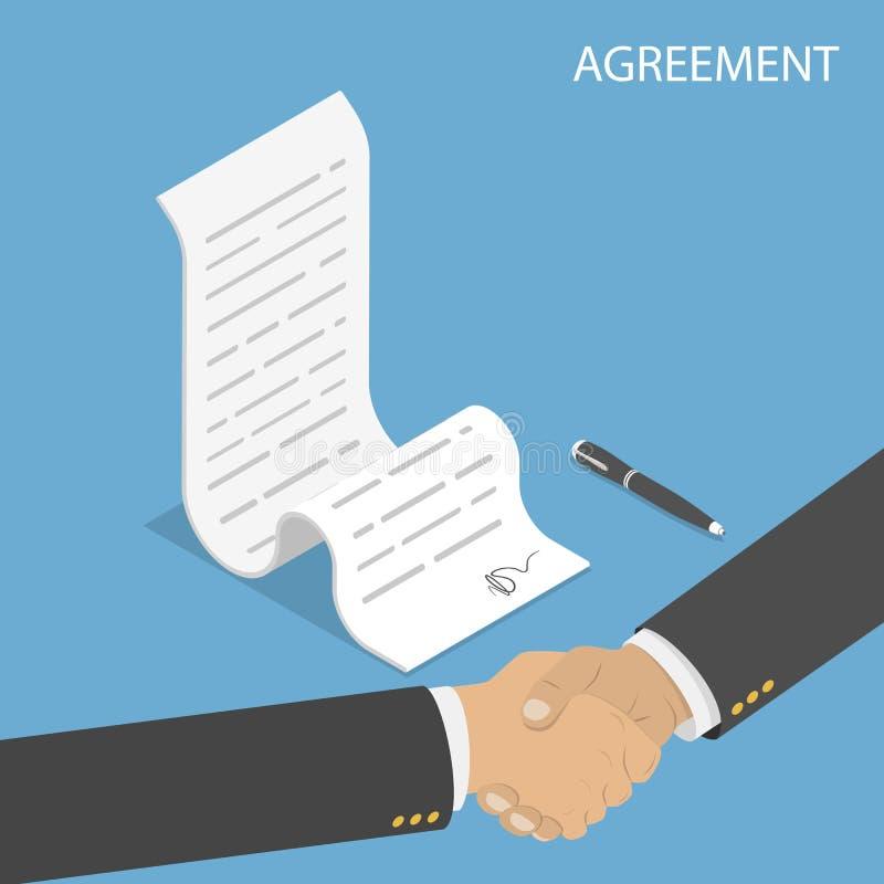 Conceito liso isométrico do vetor do acordo, aperto de mão ilustração royalty free