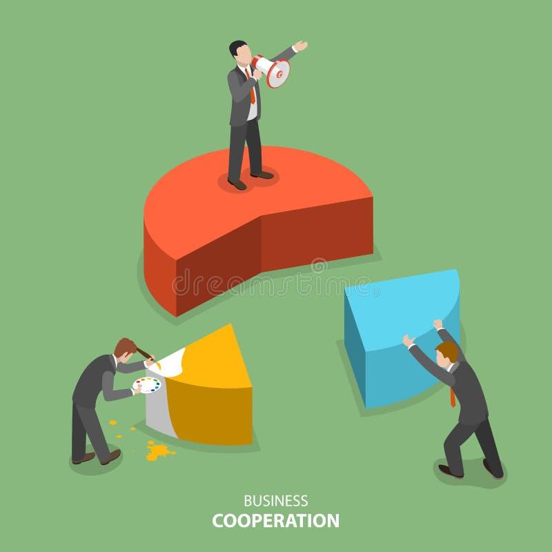 Conceito liso isométrico do vetor da cooperação do negócio ilustração stock