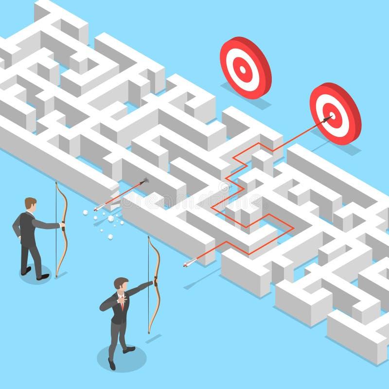 Conceito liso isométrico do vetor da vantagem do negócio, encontrando a solução ilustração do vetor