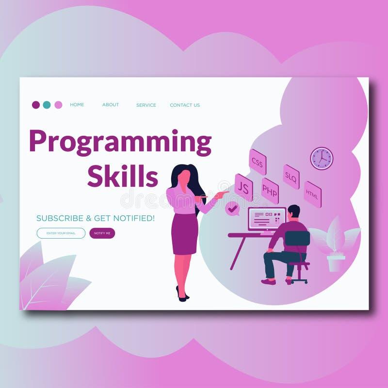 Conceito liso moderno de programação do molde do projeto do página da web das habilidades de habilidades de programação para o We ilustração stock