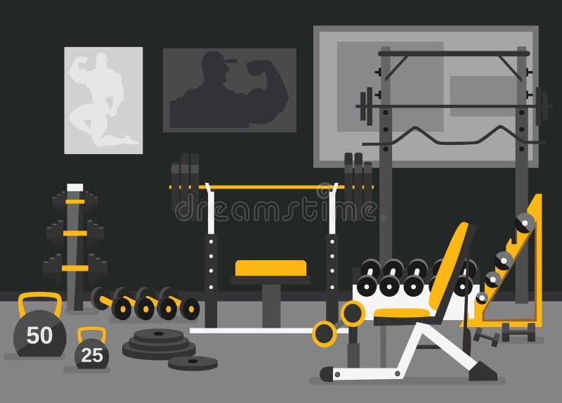 Conceito livre da zona dos pesos do centro de esporte Gym do design de interiores do fitness center no estilo liso com barbell, p ilustração royalty free