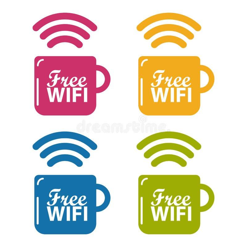 Conceito livre do café de Wifi - ilustrações coloridas do vetor - isolado no branco ilustração stock