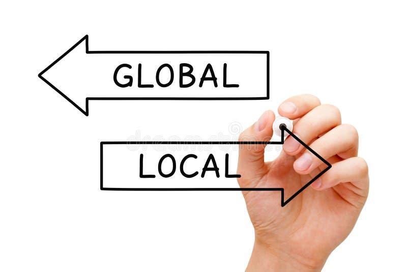 Conceito local ou global das setas fotografia de stock