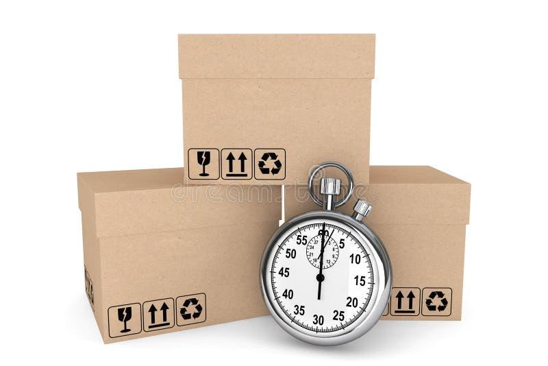 Conceito logístico. Cronômetro e caixas fotos de stock royalty free