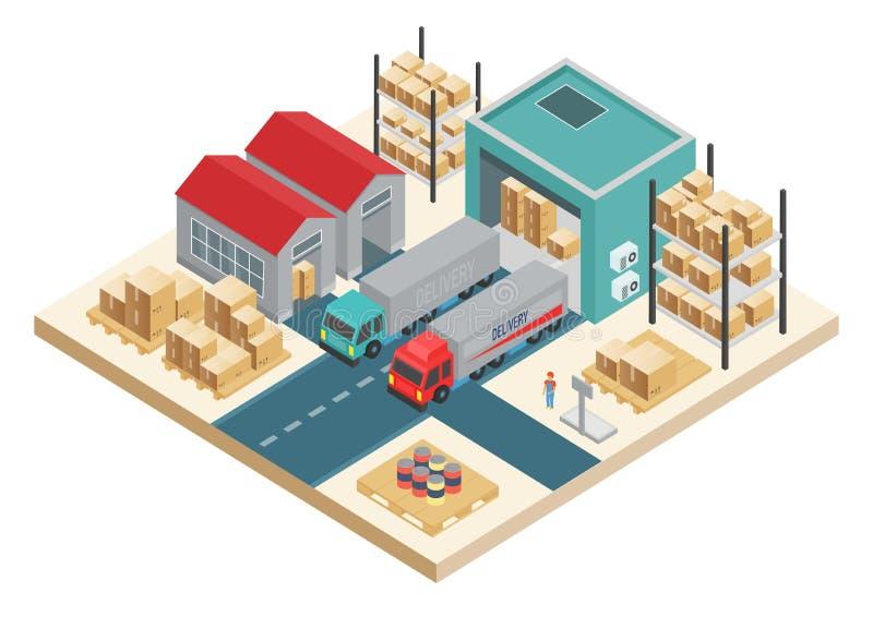Conceito logístico do transporte isométrico do vetor Conceito do serviço de distribuição Armazenamento e distribuição do armazém ilustração royalty free
