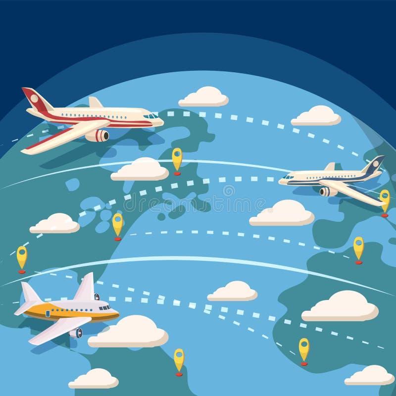 Conceito logístico global da aviação, estilo dos desenhos animados ilustração royalty free