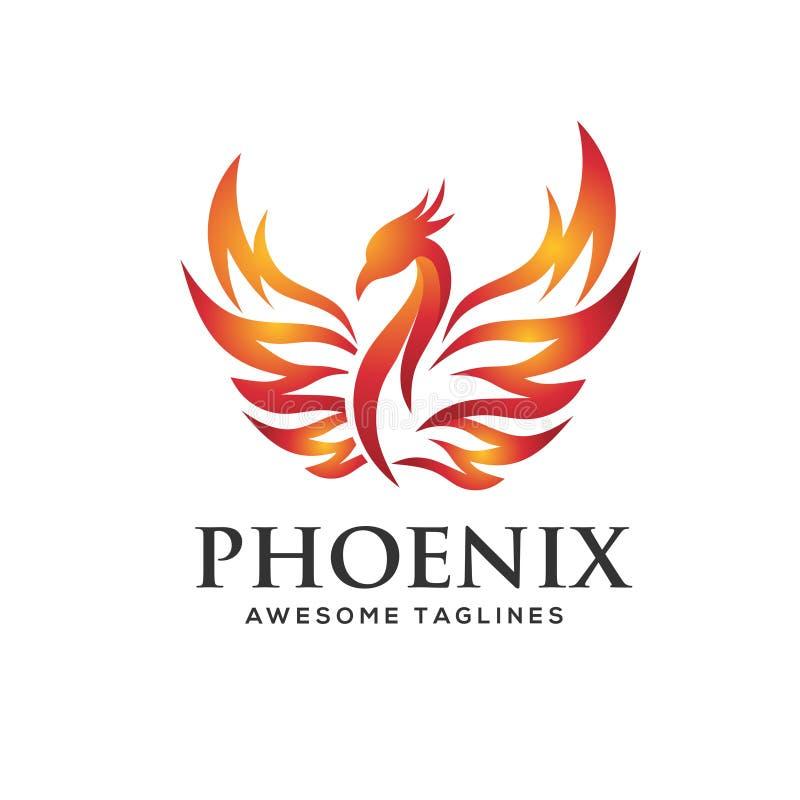 Conceito luxuoso do logotipo de phoenix ilustração stock