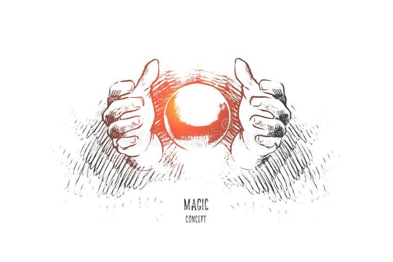 Conceito mágico Vetor isolado tirado mão ilustração royalty free
