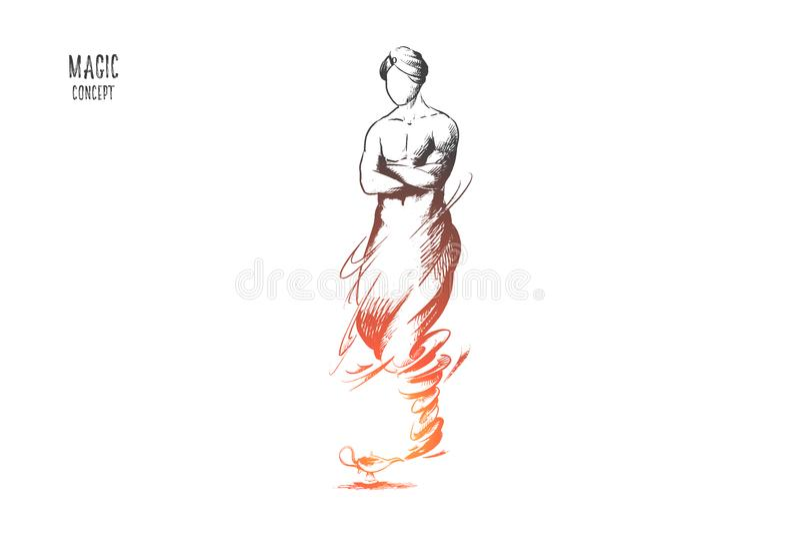Conceito mágico Vetor isolado tirado mão ilustração stock