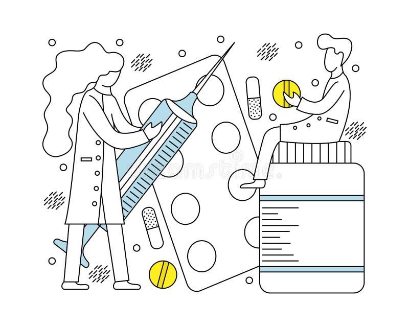 Conceito médico com doutores e medicinas pequenos ilustração royalty free