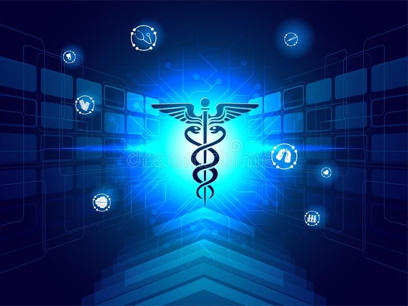 Conceito médico da inovação da biotecnologia, ilustração do caduce ilustração royalty free