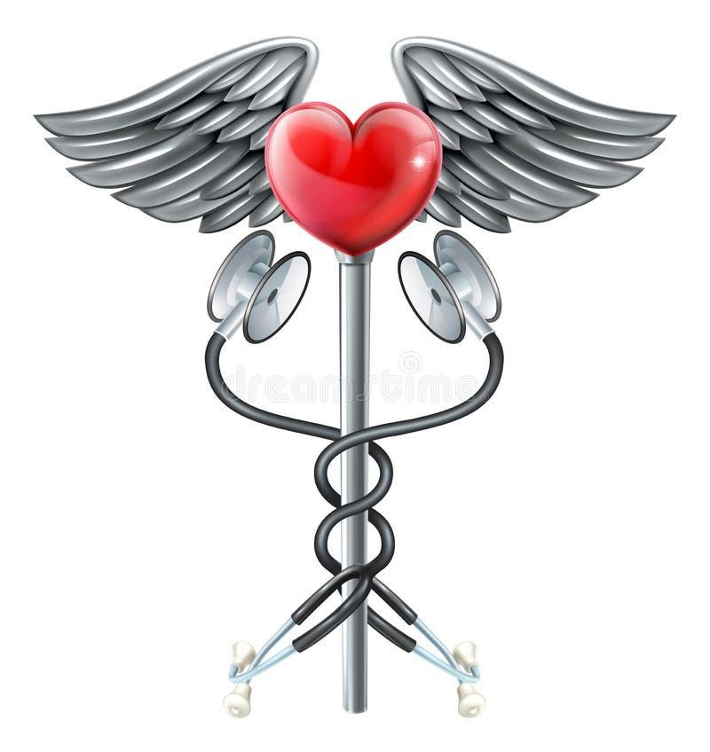 Conceito médico do ícone do estetoscópio do Caduceus do coração ilustração stock