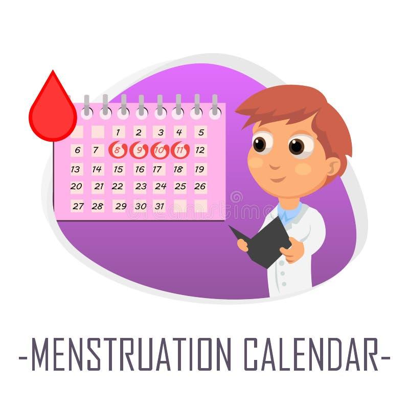 Conceito médico do calendário da menstruação Ilustração do vetor ilustração royalty free