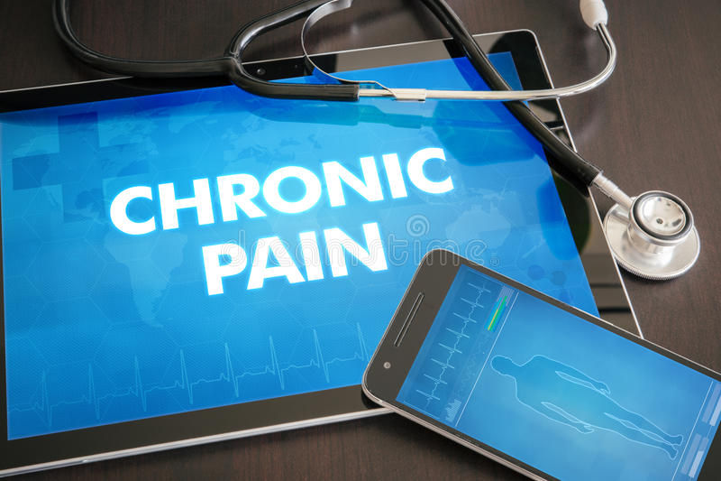 Conceito médico do diagnóstico crônico da dor (desordem neurológica) imagem de stock