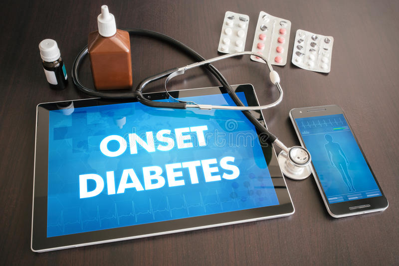 Conceito médico do diagnóstico do diabetes do início (doença da glândula endócrina) sobre foto de stock royalty free