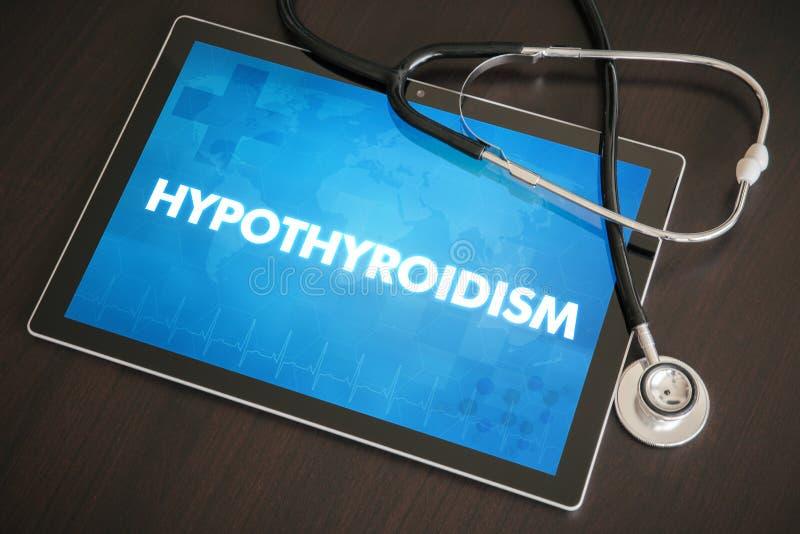 Conceito médico do diagnóstico do hipotiroidismo (doença da glândula endócrina) sobre imagens de stock