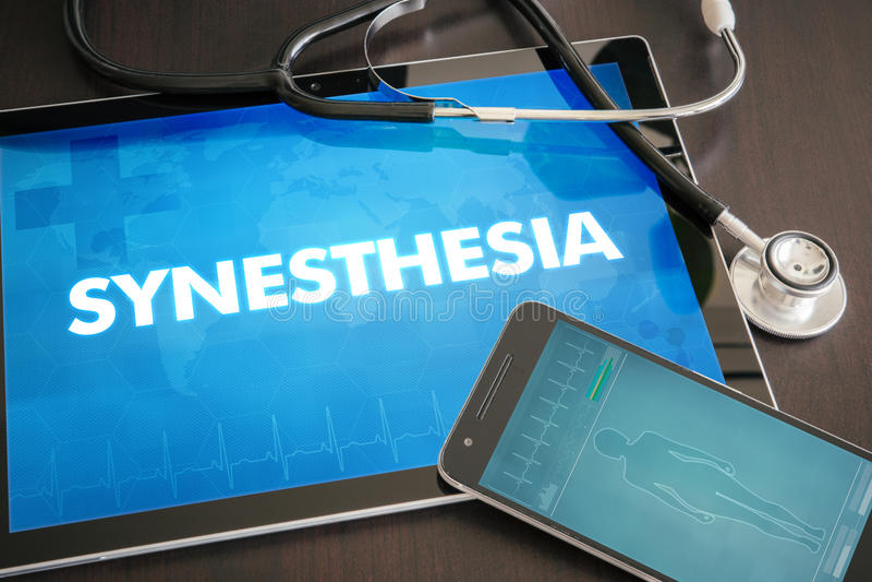 Conceito médico do diagnóstico do Synesthesia (desordem neurológica) sobre fotos de stock royalty free