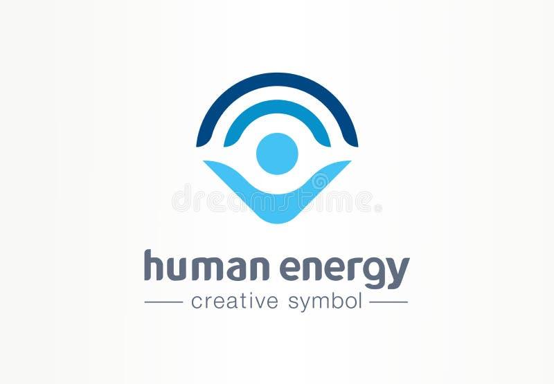 Conceito médico do símbolo criativo humano da energia Logotipo dos cuidados médicos do negócio do sumário do estilo de vida da ha ilustração royalty free
