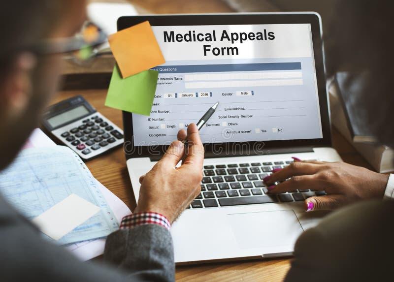 Conceito médico dos cuidados médicos do original do formulário das apelações imagens de stock royalty free