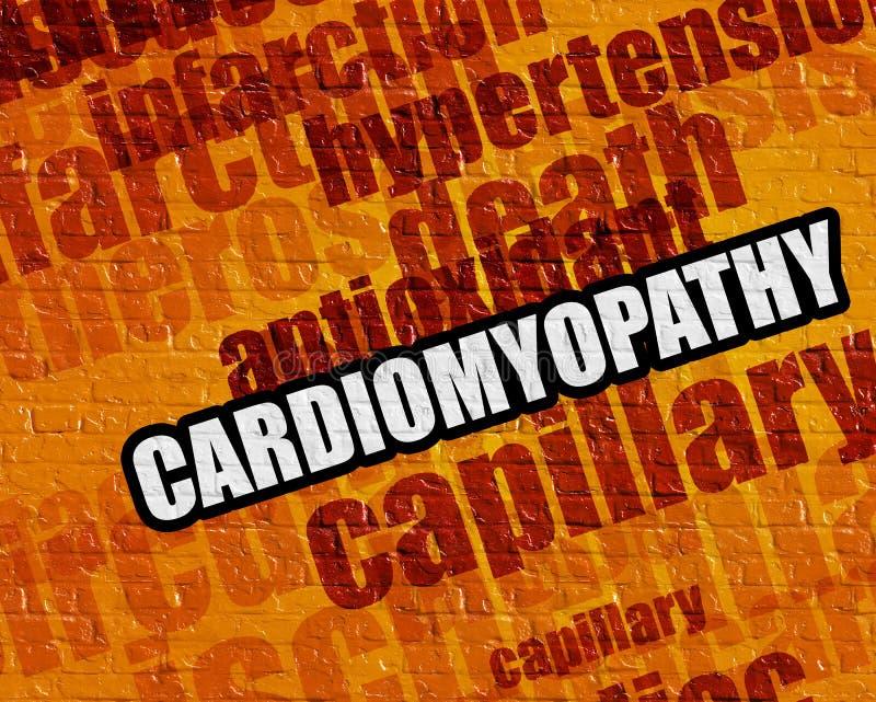 Conceito médico moderno: Cardiomiopatia em Brickwall amarelo ilustração stock