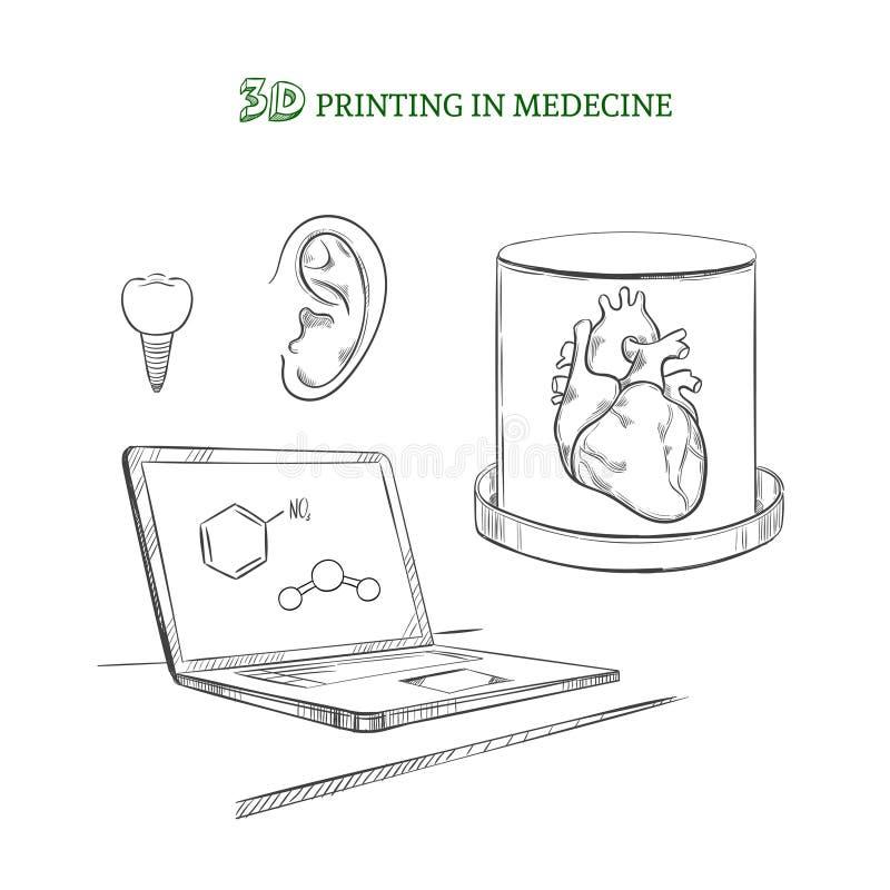 Conceito médico tirado mão das inovações da tecnologia ilustração stock