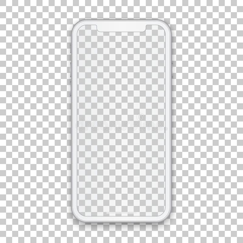 Conceito móvel branco com a tela vazia para alguns projeto da aplicação e contexto, molde do telefone isolado em transparente ilustração do vetor