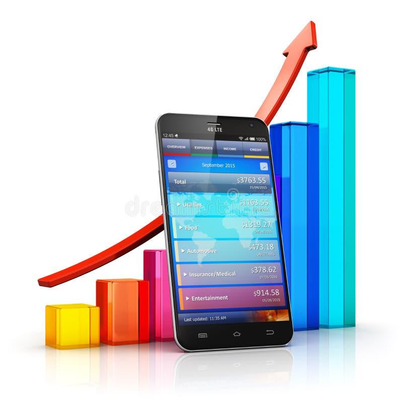 Conceito móvel da analítica da finança e do negócio ilustração royalty free