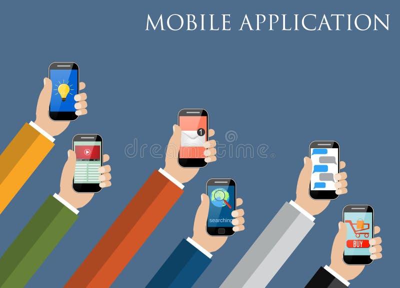 Conceito móvel da aplicação Mãos que prendem telefones ilustração do vetor