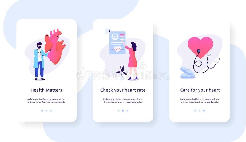 Conceito móvel da bandeira da Web do controle do coração Ideia dos cuidados m?dicos ilustração stock