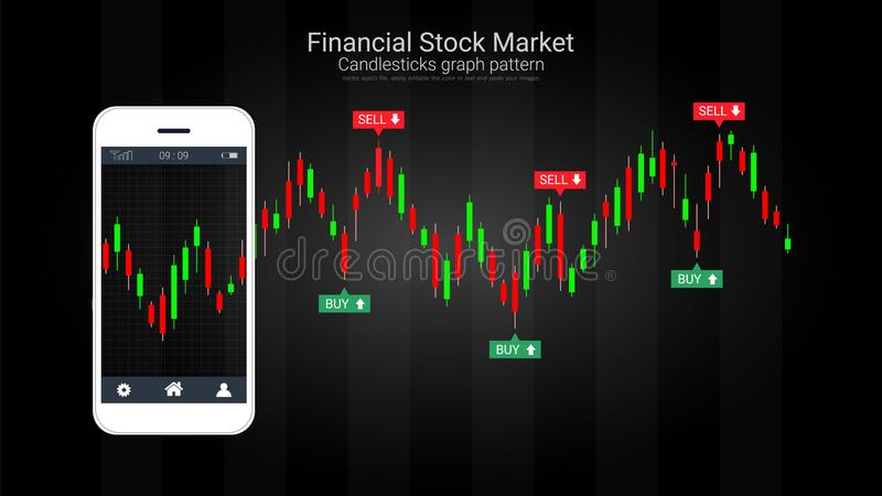 Conceito móvel da compra e venda de ações com castiçal e cartas financeiras do gráfico na tela ilustração stock